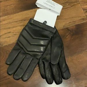 Other - Men's  leather gloves  lined new Calvin Klein